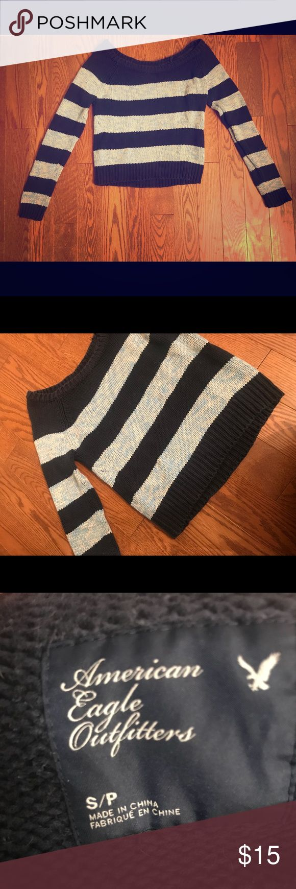 COZY STRIPED WOVEN AMERICAN EAGLE SWEATER Navy and sky blue striped, woven, American Eagle sweater. So warm and cozy!!!!! Definitely a great addition to your wardrobe!!! ‼️NOTE: slight pulling of thread at the collar‼️ American Eagle Outfitters Tops