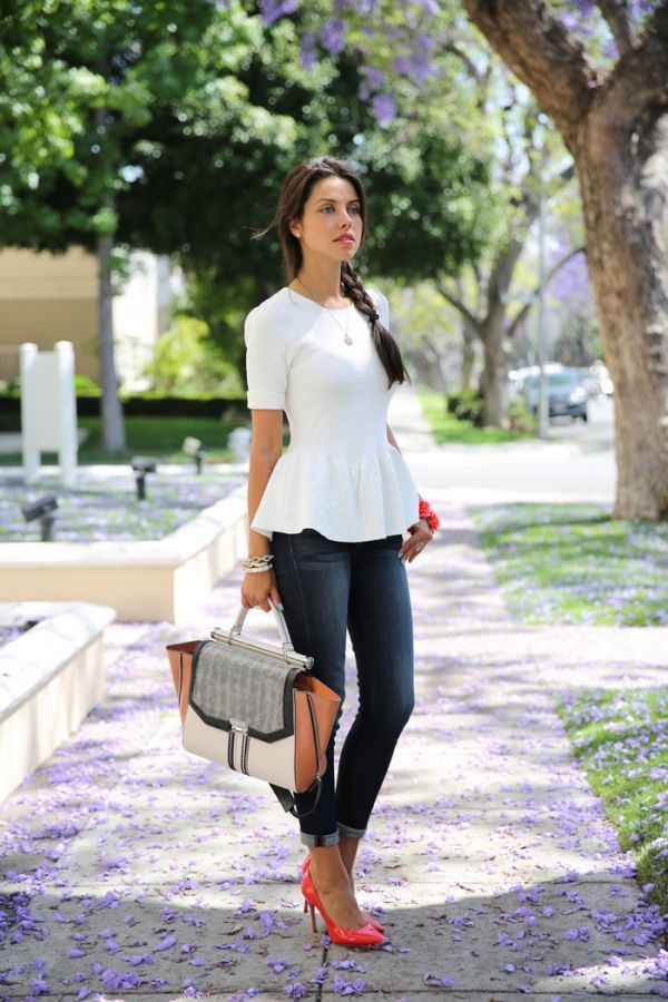 Ronny Kobo Peplum top with skinny jeans and color heels. Love this look minus the bag.