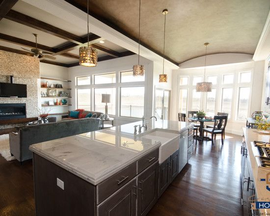 Kitchen Designs:Beautiful L Shaped Kitchen Layouts Wooden Ceiling Panels Ceiling Fan Kitchen Marble Kitchen Island Fireplace Hanging Bulb Lamps Wall Mounted Shelving Likable Ceiling Fan Kitchen To Avoid Hot Weather