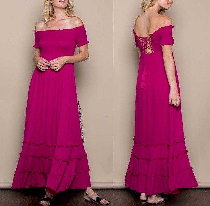 SOUTHERN GIRL FASHION  Lace Up Maxi Dress Pink Off the Shoulder Long Draped Gown  | eBay