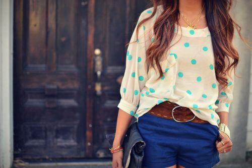 outfit: Polka Dots Tops, Colors Combos, Blue Shorts, Summer Looks, Shirts, Cute Outfits, Royals Blue, Polkadots, The Dots