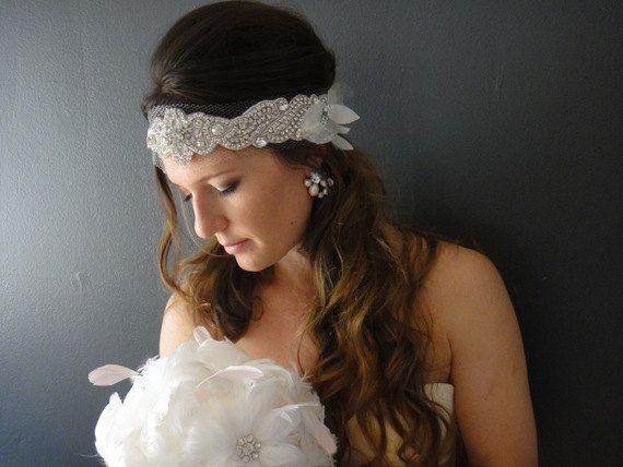 Wedding Headband Bridal Bandeau Bridal by JaimeBridalCouture