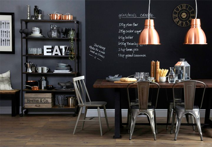 Industrial dining chairs | copper lights | chalkboard wall | EB & Kris | ebandkris.com