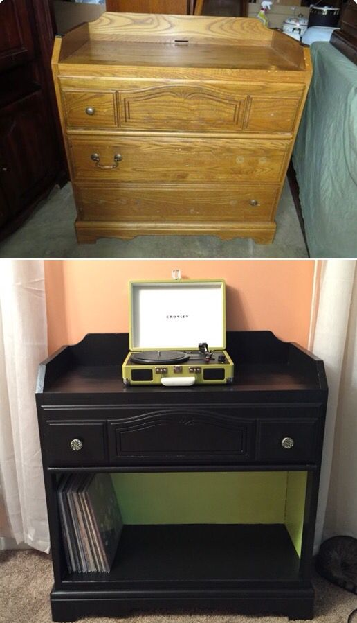 Old dresser makeover into a hip new record player stand! My first time ever doing anything like this. I'm pretty happy with the results!