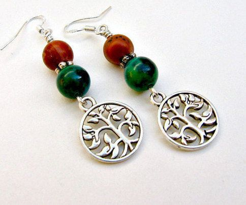 Gemstone Tree of Life Earrings Tree of Life Jewelry Jasper