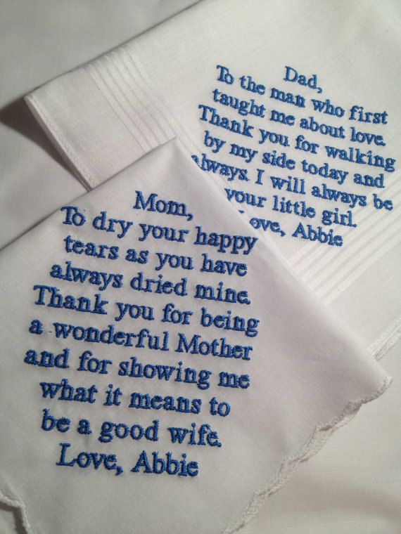Set of Two Personalized WEDDING HANKIE'S Mother & by Aprettystitch