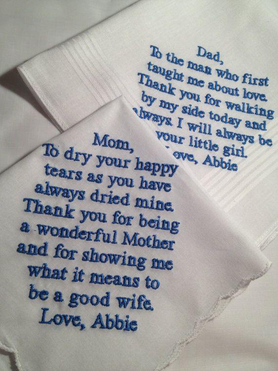 Set of Two Personalized WEDDING HANKIE'S Mother & by Aprettystitch