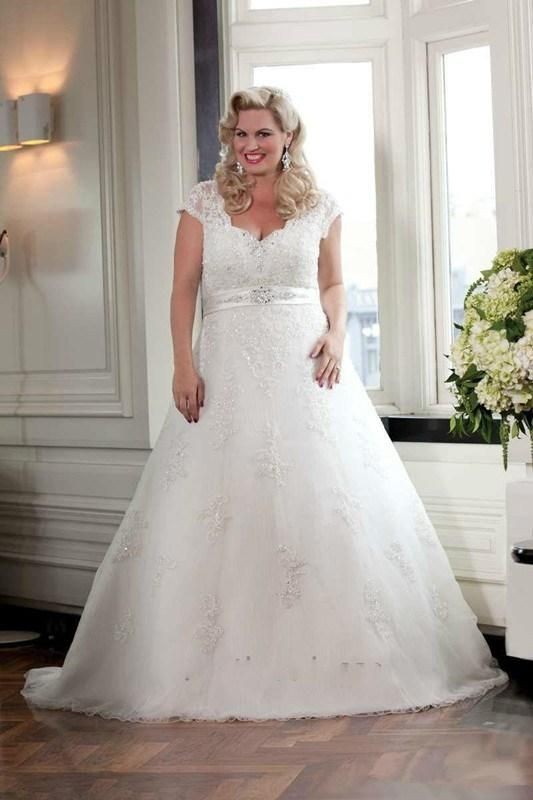Custom Plus Size White Wedding Dress Applique Sleeveless V Neck Cap Sleeve Sweep Stunning Lace A Line Beautiful Bridal Gown Ball WH10