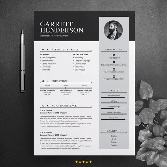 Professional Resume Cv Design Template With Cover Letter Clean Curriculum Vitae Ms Word Apple Pages Instant Download Med Billeder