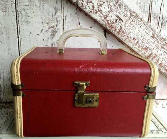 Vintage Train case hand luggage red and white hard shell case with clear plastic handle Cosmetic Case Toiletries $48