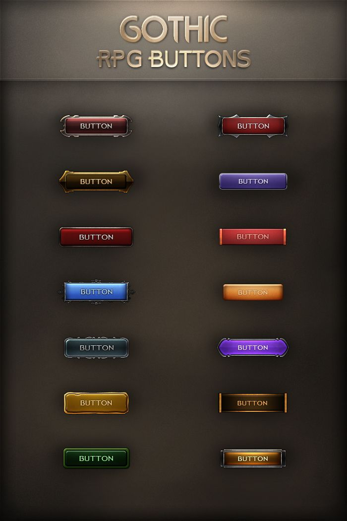 Gothic RPG Buttons by VengeanceMK1