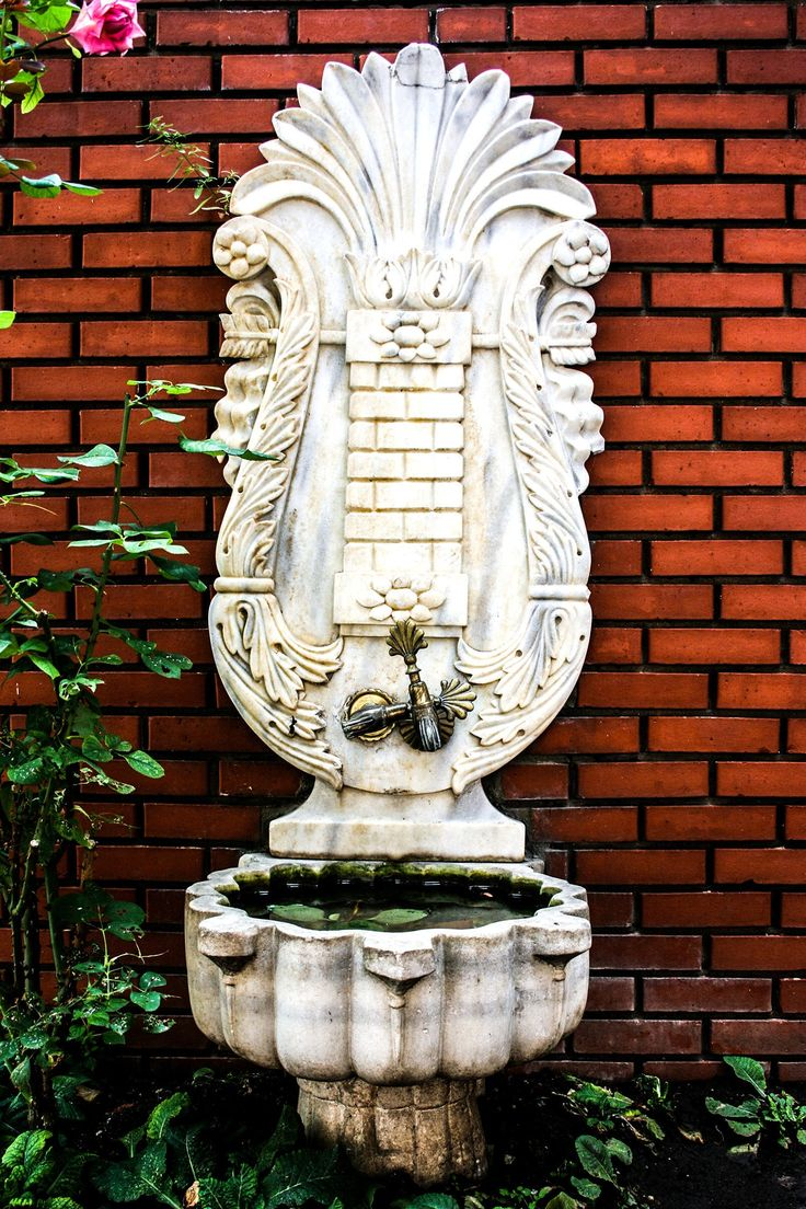 Photograph Ivory White Beautiful Old Antique Turkish Outdoor Water Basin in Istanbul Turkey Vertical Travel Art Print Home Decor