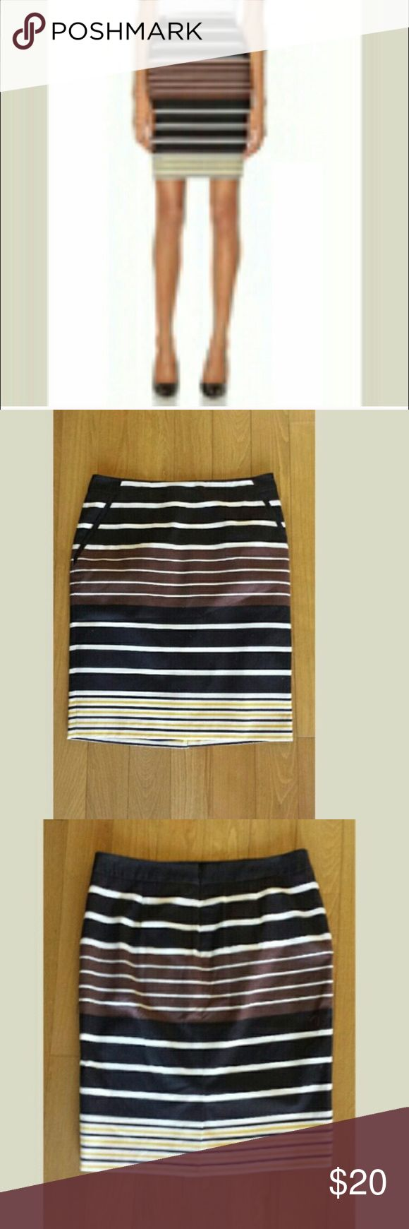 "Striped pencil skirt The Limited stripe pencil skirt. Fully lined. Waist measures 15.5"", 21"" long Skirts Pencil"