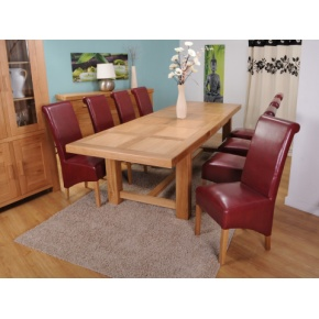 Grand Marseilles Large Oak Dining Table with 8 Krista Burgundy Leather Chairs - Set  www.easyfurn.co.uk
