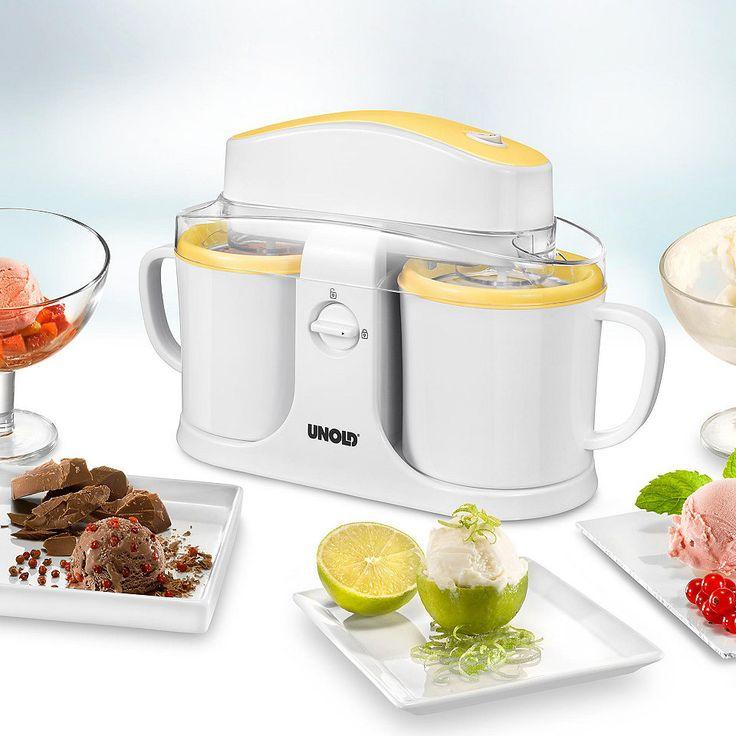 UNOLD® Eismaschine Duo 48850, 2 Sorten Eiscreme gleichzeitig