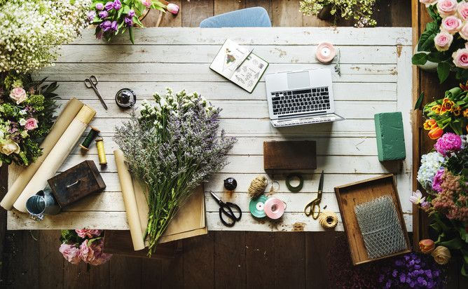 Stock Images - Why You Need Them and Where To Get Them  Florist Flat Lay Flowers & Laptop
