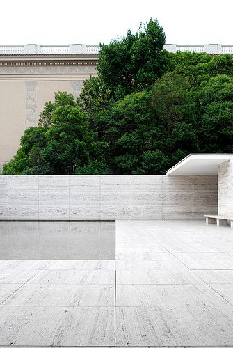 back wall of the Barcelona Pavilion by Mies van der Rohe.