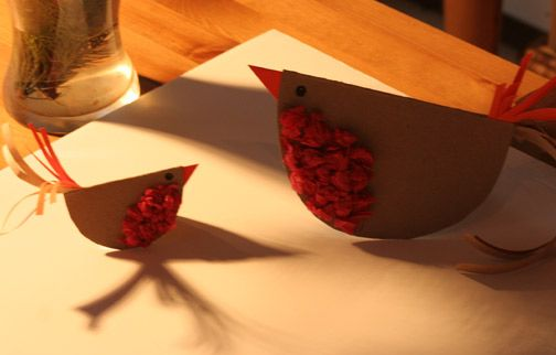 Cute rocking robins, made as simple or as ornate as you like. I have also done this craft with paper plates