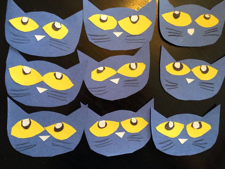 Simple Pete the Cat preschool craft - add hearts to make into a Valentine