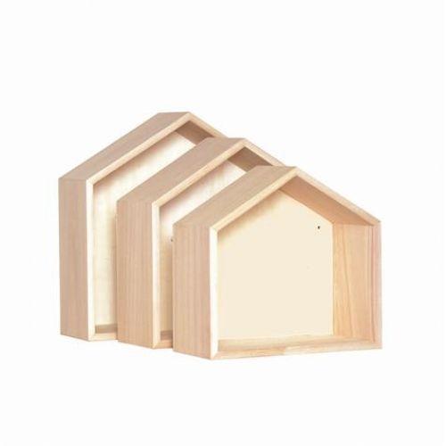 3 étagères bois