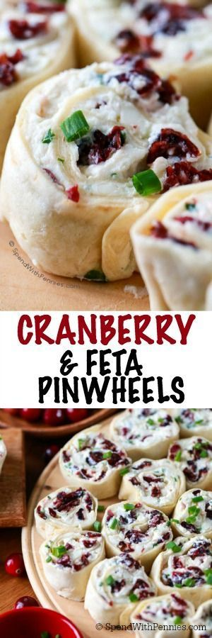 Cranberry Feta Pinwheels are the perfect make ahead holiday snack or appetizer.  A creamy filling with feta cheese and sweet dried cranberries is wrapped in tortillas and sliced.  These are the hit of every party!
