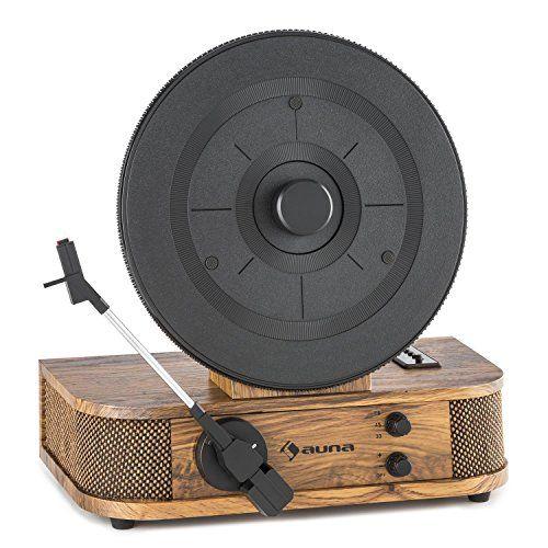 auna Verticalo S – Platine vinyle USB vintage – tourne-disque vertical rétro (haut-parleurs intégrés, lecture MP3, 3 vitesses : 33/45/78…
