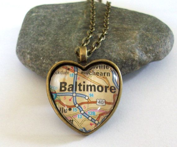 Cool necklace https://www.etsy.com/listing/107088652/baltimore-map-necklace-maryland