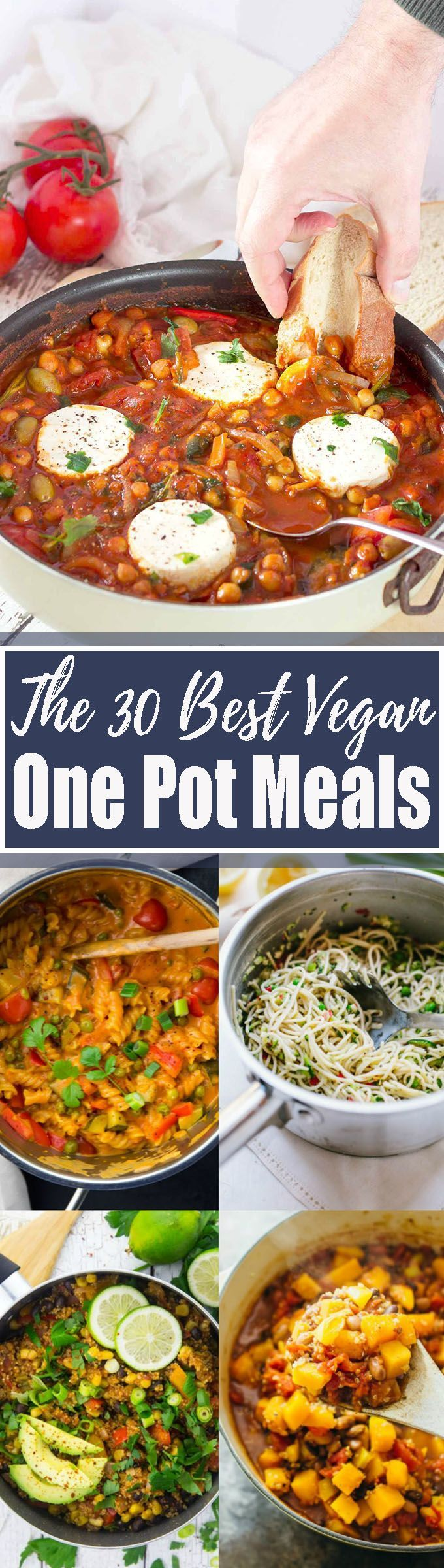 These 30 easy vegan one pot meals are perfect for busy days! All recipes are super easy, healthy, and so delicious! Vegetarian recipes definitely don't have to be complicated! Find more vegan recipes at veganheaven.org <3