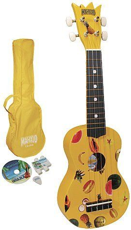 Mahalo Ukulele Kit - Yellow Soprano Ukulele Package by Mahalo. $38.95. Mahalo U1 ukulele kit complete with; Mahalo Ukulele U1, tutorial learning DVD, matching color bag, plectrum, and pitch pipe. Details: Maple body. Nato neck. Blackenized maple fingerboard. Nickle pegs. Abs white nut. Nubone saddle. Length: Overall 52cm / Fingerboard 19cm.