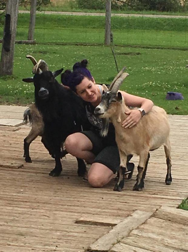 Cedar Row goats with Batty   Batty's Bath volunteers at Cedar Row Farm Sanctuary - A charity we've supported for years by sponsoring a goat. We suited up and attended a Work Visit day to help out around the farm (and of course hangout with all the cool animals!)