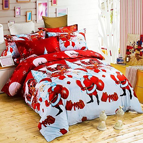 Christmas Bedding Set with 3D Printed Santa Claus and Elk (New Year