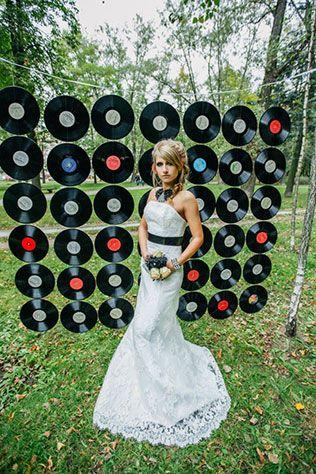 Фотопроект Blogger Bride, образ невесты, пано из старых пластинок для фотосессии