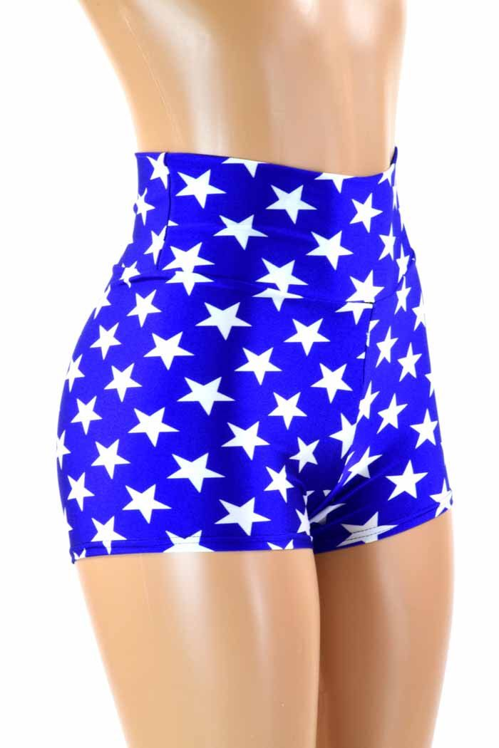 Blue and White Star Print High Waist Super Hero Booty Shorts  151195 by CoquetryClothing on Etsy https://www.etsy.com/listing/161813234/blue-and-white-star-print-high-waist