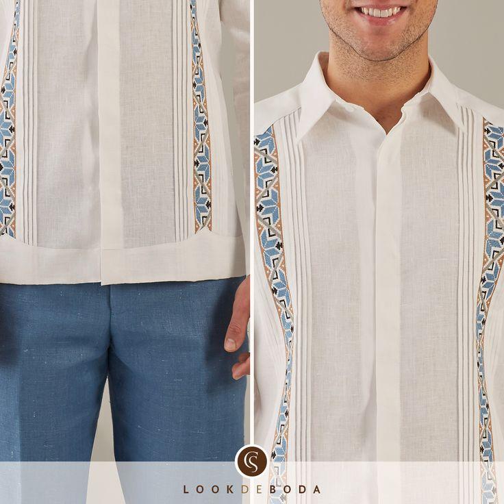 Exclusiva guayabera de lino con bordado artesanal Camasha
