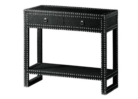 Uber Chic Black Grasscloth, Studded Console Table. Marc Console |  Vanillawood