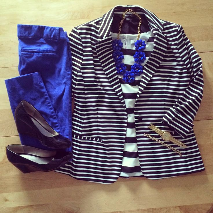 work wear, professional, blazer, stripes, beaded rose, blue, wedges   IG: @whitecoatwardrobe