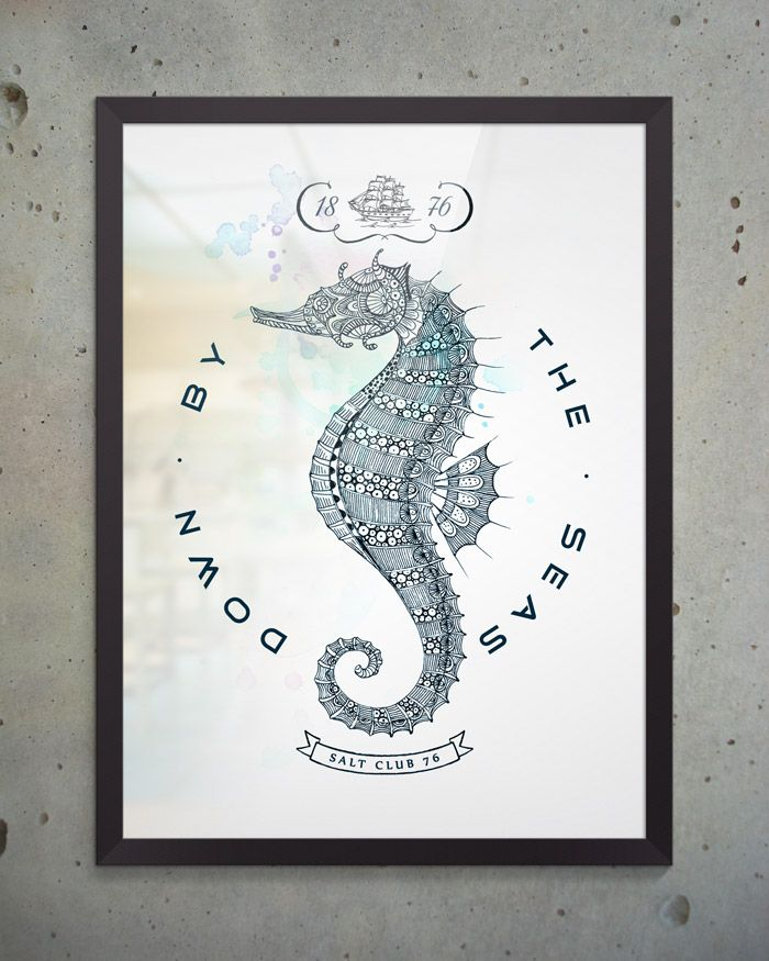 Художественный постер Hippocampus из коллекции Salt Club 76 формата А3 под стеклом в раме. Идеально подходит для оформления интерьера в морском стиле, будь то ресторан, личный кабинет или офис. #постеры #принты #картины #иллюстрация
