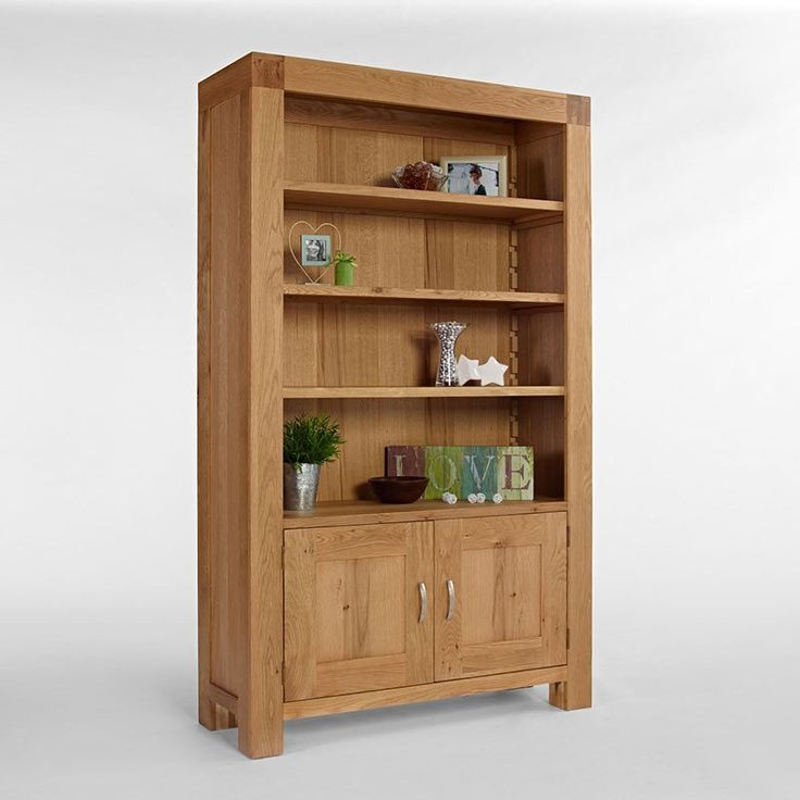 Santana Blonde Solid Oak Bookcase With Cupboard