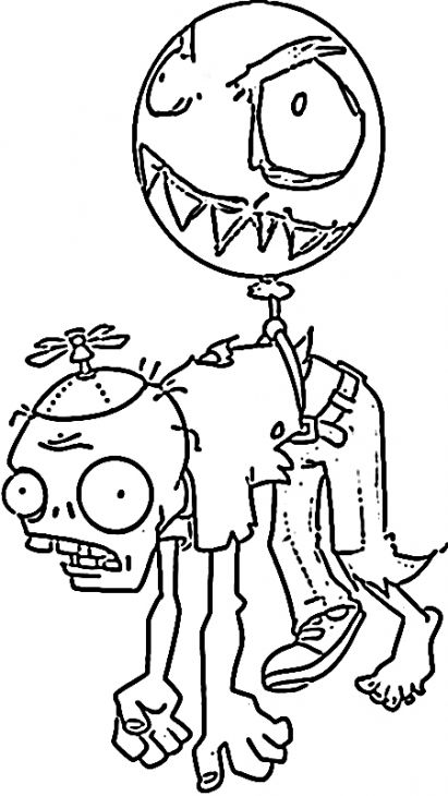 The Balloon Zombie In Plants Vs Zombies Kids Coloring ...