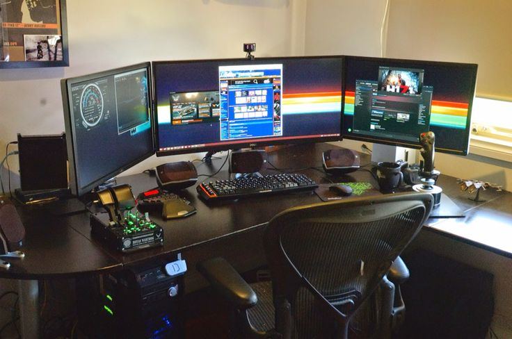 111 best home office images on pinterest desks offices for Best home office monitor setup