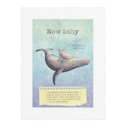 Adorable mother and baby whale. New baby card. Fleece Blanket - baby gifts giftidea diy unique cute