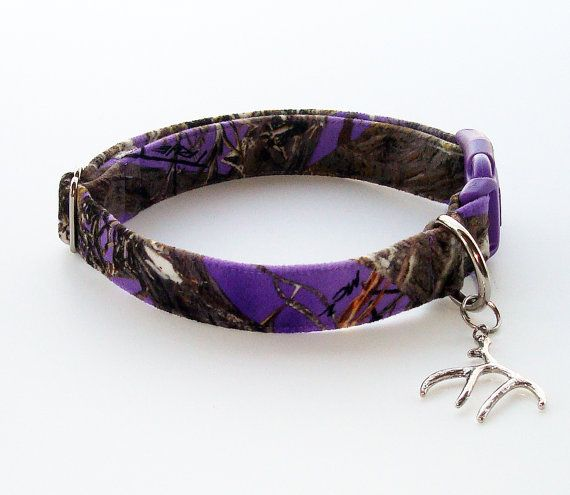 Purple Camo Dog Collar With Silver Antler By Happytailsdogcompany