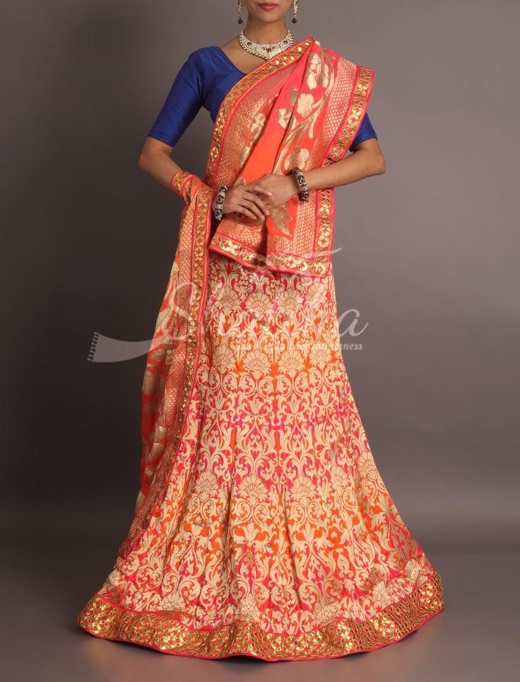 Vasudhara Devi Heavy Brocade Gotta Patti Border Mermaid Cut Royal Rajasthani Lehenga