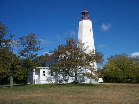 Sandy Hook Lighthouse, Sandy Hook,  New Jersey is the oldest US lighthouse and is still operating.