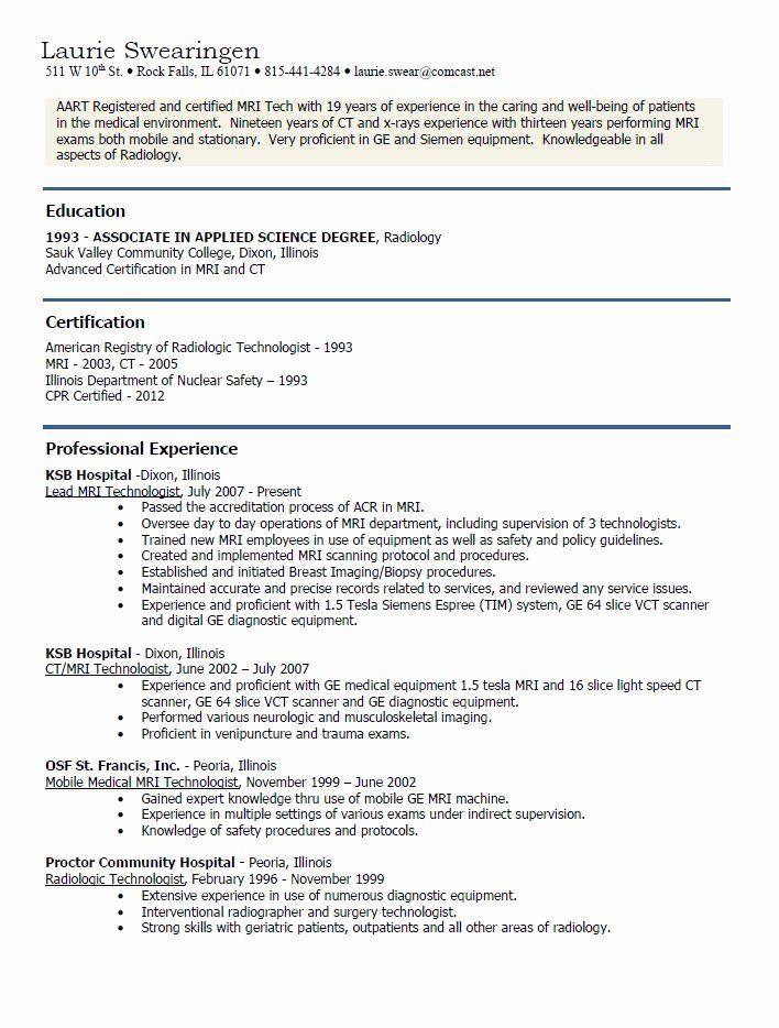 Surgical Technician Resume Example Unique Mri Technician Resume Examples In 2020 Resume Examples Surgical Technician Resume Format In Word