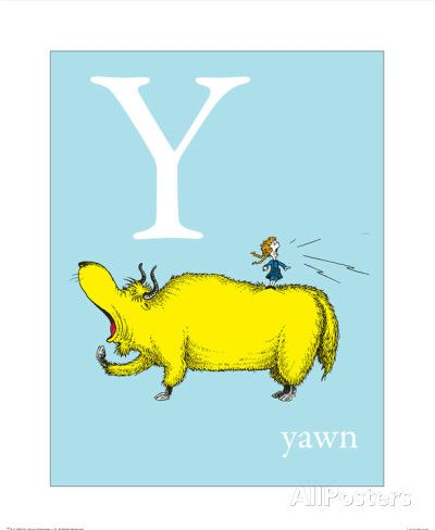 Y is for Yawn (blue) Kunst von Theodor (Dr. Seuss) Geisel - AllPosters.at