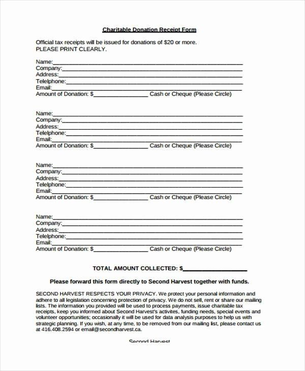 Charitable Donation Receipt Template Awesome Receipt Form In Pdf Receipt Template Charitable Donations Receipt