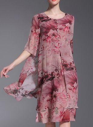 Chiffon Floral Manga até a metade do braço Altura do Joelho Informal Vestidos de (1039071) @ floryday.com