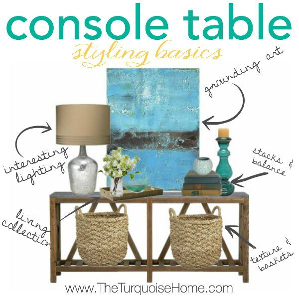 If you know the basics to styling a console table or any vignette, you're house will be looking like it's straight out of a magazine in no time! | Details at TheTurquoiseHome.com