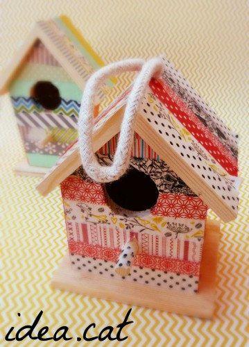 washi tape bird house